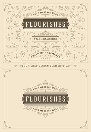 Ornamenti vintage turbinii e pergamene decorazioni elementi di design. Fiorisce combinazioni calligrafiche per loghi retrò, biglietti di auguri, stemmi reali, cornici e inviti.