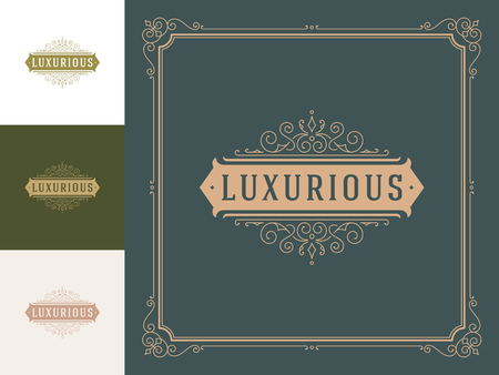 Luxury logo template vector vintage flourishes ornaments. Good for royal crest, boutique brand, hotel sign with flourish frame luxury template. Stok Fotoğraf - 115704660