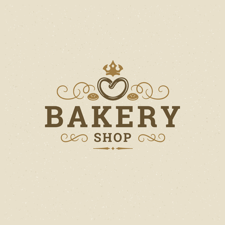 Bakery badge or label retro vector illustration. Pretzel silhouette for bakehouse. Typographic logo design.