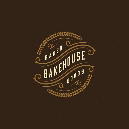 Bäckerei-Abzeichen oder Retro-Vektor-Illustration des Labels. Ohrweizen-Silhouetten für Backstube. Typografisches Logo-Design.
