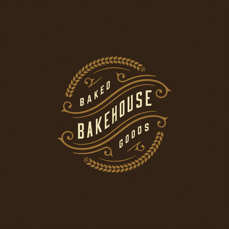 Bakery badge or label retro vector illustration. Ear wheat silhouettes for bakehouse. Typographic logo design.