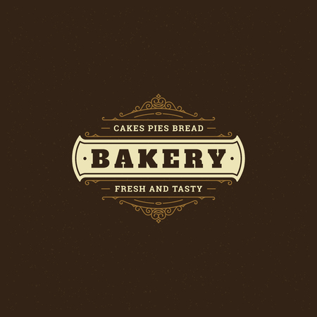 Bakery badge or label retro vector illustration. Flourishes line ornament for bakehouse. Typographic logo design.