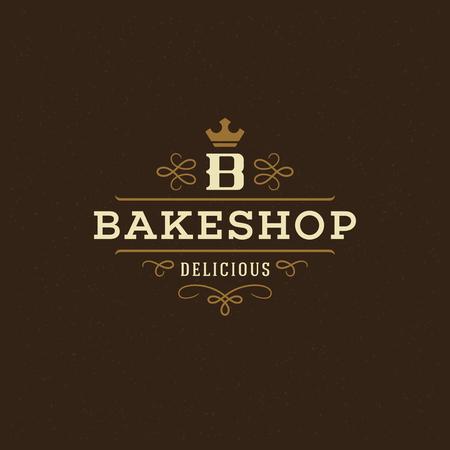 Bakery badge or label retro vector illustration. Flourishes line ornament monogram for bakehouse. Typographic logo design.