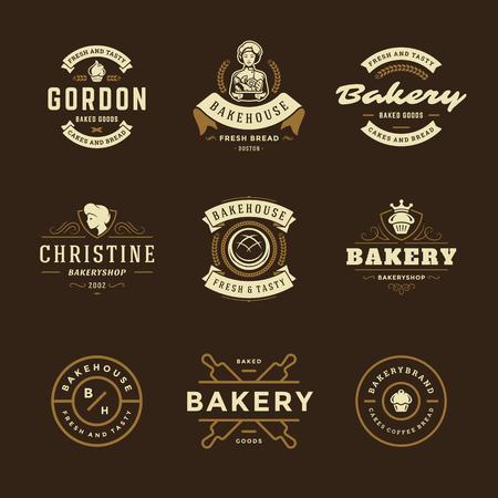 Piekarnia logo i odznaki szablony projektu zestaw ilustracji wektorowych. Dobry na emblematy piekarni i kawiarni. Elementy retro typografii i sylwetki.