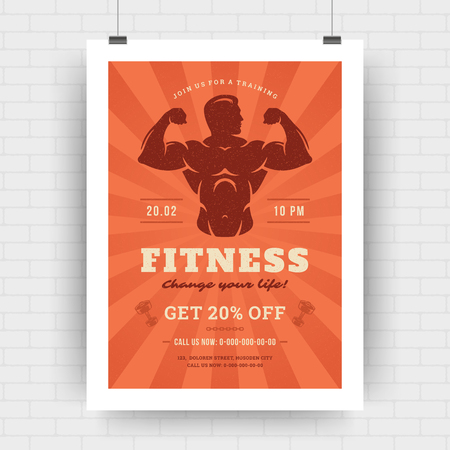 Fitness center flyer modern typographic layout, event cover design template A4 size with bodybuilder man silhouette. Vector Illustration.