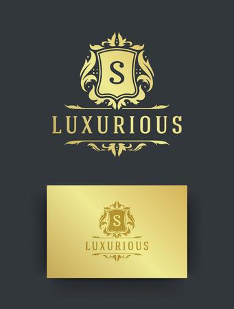 Luxury logo monogram crest template design vector illustration. Illustration