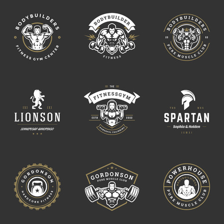 Set fitness center and sport gym logos and badges design