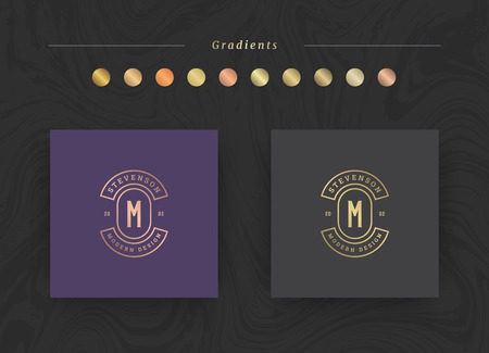 Elegant luxury brand logo design template. Modern minimalism style with golden gradients. Vector illustration.