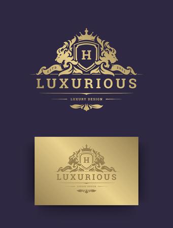 Luxury logo monogram template design vector illustration. Royal monogram crest brand vintage vignette ornaments. Lions silhouettes.