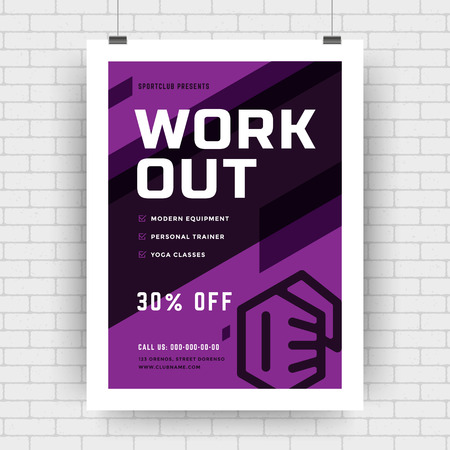 Fitness center flyer modern typographic layout, event cover design template A4 size with bodybuilder fist silhouette. Vector Illustration.