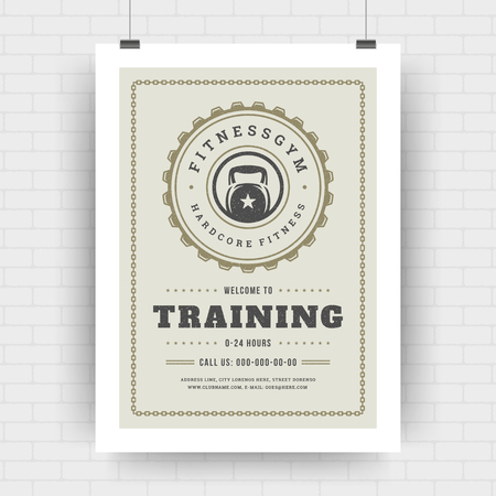 Fitness center flyer modern typographic layout, event cover design template A4 size with bodybuilder kettlebell silhouette. Vector Illustration.
