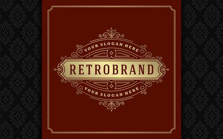 Luxury logo template vector golden vintage flourishes ornament. Good for royal crest, boutique brand, wedding shop, hotel sign. Frame and pattern background.