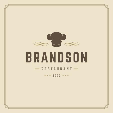 Restaurant logo template vector illustration. Chef hat silhouette, good for restaurant menu and cafe badge. Vintage typography emblem design.