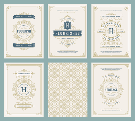 Vintage ornament greeting cards set vector templates. Flourishes ornamental frames and pattern background for wedding invitations, advertising or other design and place for text.