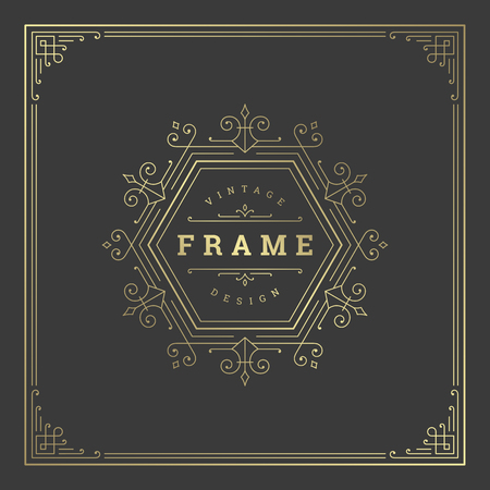 Vintage flourishes ornament frame template vector illustration.