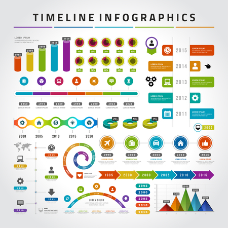 Timeline infographics design templates set. Charts, diagrams, icons, objects, vector elements for data, presentations, business reports and statistics design