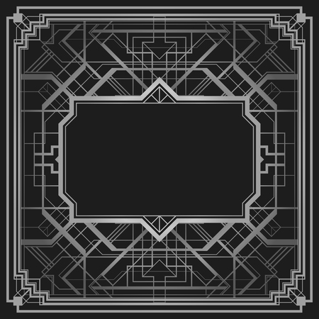 Art deco style geometric frame border design, silver vector vintage background, 1920 style