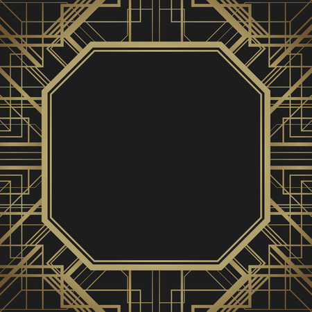 Art deco style geometric frame border design, gold vector vintage background, 1920 style