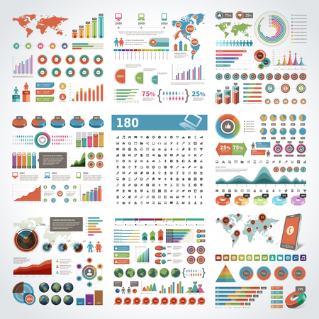 Infographics design templates set. Charts, diagrams, objects, vector elements for data, presentations, business reports and statistics design and 180 icons