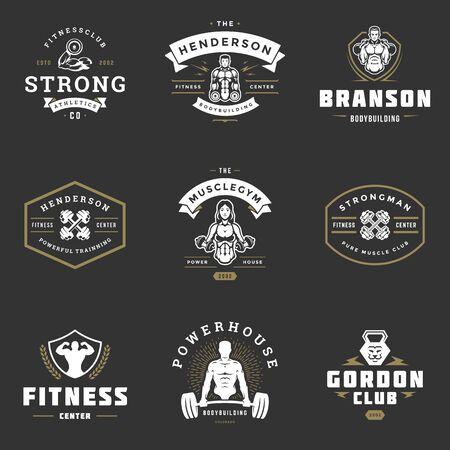 I loghi e i distintivi del centro fitness e della palestra sportiva progettano l'illustrazione di vettore stabilita.