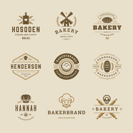Modèles de conception de logos et de badges de produits de boulangerie mis en illustration vectorielle
