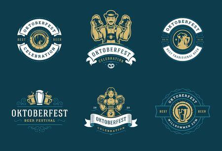 Las insignias y etiquetas de Oktoberfest establecen plantillas vectoriales de diseño tipográfico vintage.