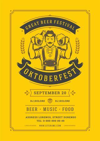 Oktoberfest flyer or poster retro typography template design beer festival celebration vector illustration 向量圖像