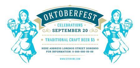Oktoberfest flyer or banner retro typography template design willkommen zum invitation beer festival celebration. Иллюстрация