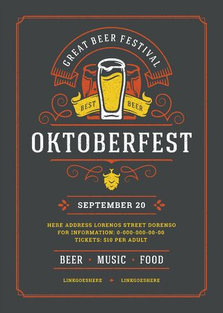 Oktoberfest flyer or poster retro typography template design beer festival celebration