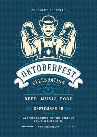 Oktoberfest flyer or poster retro typography template design beer festival celebration vector illustration.