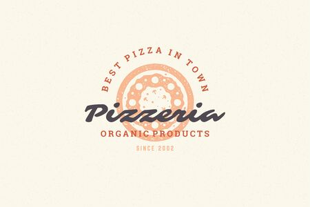 Engraving icon pizza silhouette and modern vintage typography hand drawn style illustration.