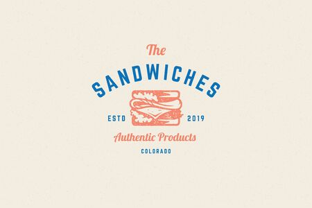 Engraving icon sandwich silhouette and modern vintage typography hand drawn style vector illustration.