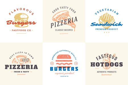Engraving fast food icon and labels with modern vintage typography hand drawn style set illustration. Vector Illustration