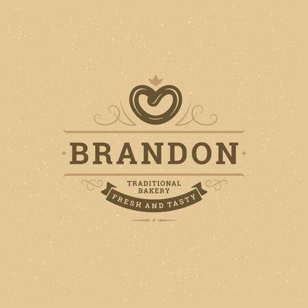 Bakery icon or badge vintage illustration pretzel silhouette for bakery shop