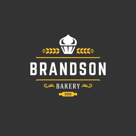 Icône de boulangerie ou insigne illustration vintage cupcake silhouette pour boulangerie