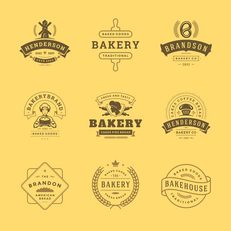Bakery icon and badges design templates set illustration good for bakery shop and cafe emblems. Vetores