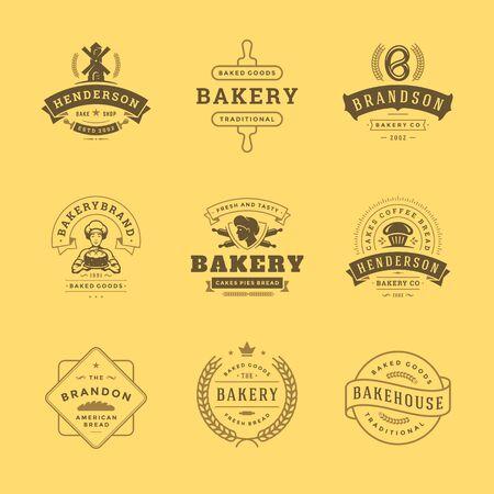 L'icona del forno e i modelli di design dei distintivi impostano l'illustrazione buona per gli emblemi del negozio di panetteria e del caffè Vettoriali