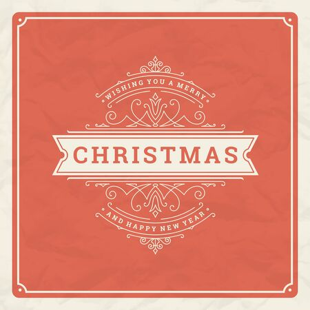Christmas and happy new year text greeting card vintage typographic design, ornate decoration with winter holidays wish Vettoriali
