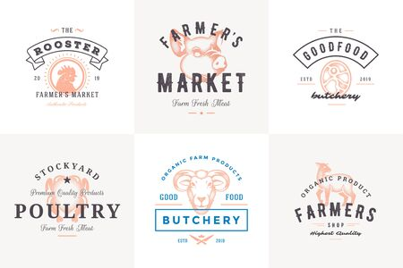 Engraving   labels farm animals with modern vintage typography hand drawn style set  イラスト・ベクター素材
