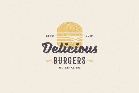 Hand drawn logo burger silhouette and modern vintage typography retro style vector illustration.