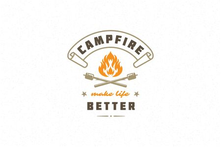 Saying quote typography with hand drawn campfire symbol and sticks marshmallows for greeting cards and posters Иллюстрация