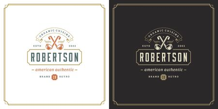 Restaurant logo template vector illustration soup ladles symbol and decoration good for menu and cafe sign. Иллюстрация