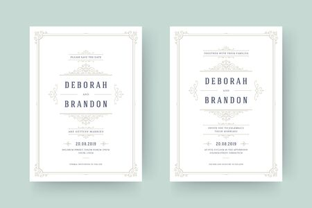 Wedding invitation and save the date cards flourishes ornaments. Vintage victorian frames and decorations. Vector elegant template. Illustration