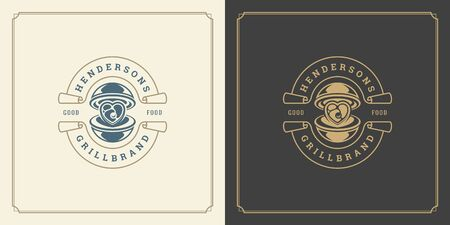 Restaurant logo template vector illustration tray cloche with meat steak symbol and decoration good for menu