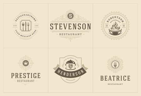 Restaurant logos templates set vector illustration good for menu labels and cafe badges