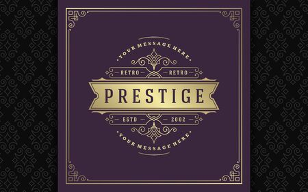 Vintage logo elegant flourishes line art graceful ornaments victorian style vector template design Stock Illustratie