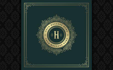 Vintage monogram logo elegant flourishes line art graceful ornaments victorian style vector template design Stock Illustratie