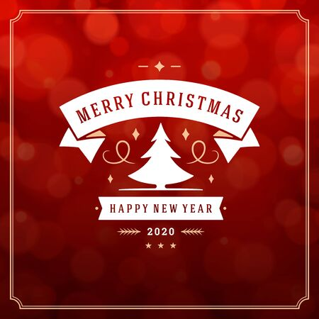 Merry christmas and happy new year text greeting card vintage typographic design, ornate decoration with tree symbol