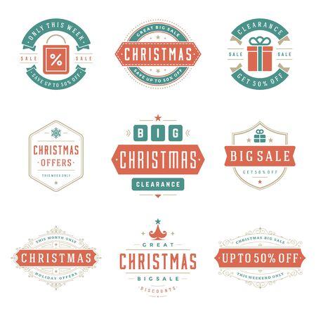 Etichette e distintivi di vendita di Natale con set di stile vintage vettoriale di disegno di decorazione tipografica di testo