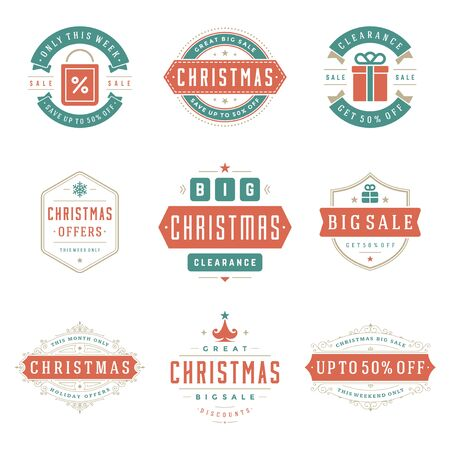 Kerst verkoop etiketten en insignes met tekst typografische decoratie ontwerp vector vintage stijlenset